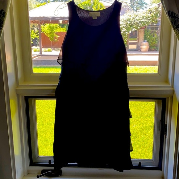 Classic Black Tiered Ruffled cocktail dress 8 NWT